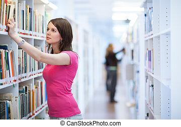 étudiant, joli, collège, bibliothèque, femme