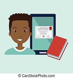 étudiant, livre, diplôme, tablette, homme
