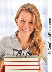 étudiant, livres, bibliothèque, femme