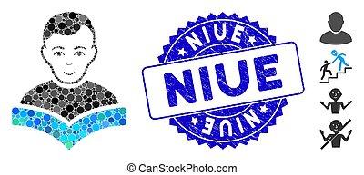 étudiant, niue, timbre, mosaïque, icône, détresse