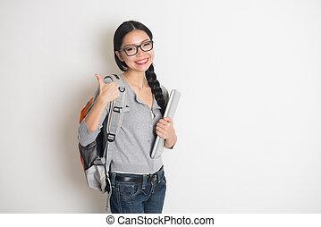 étudiant, ordinateur portable, haut, livres, collège, femelle asiatique, pouces