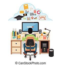 étudiant, recherche, education, matériel, sur, internet.,...