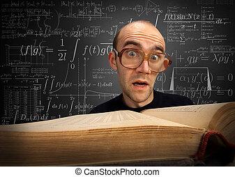 étudiant, surpris, nerd