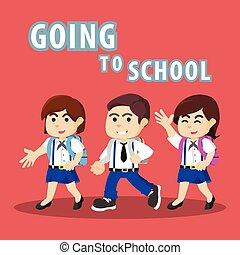 étudiants, école, aller