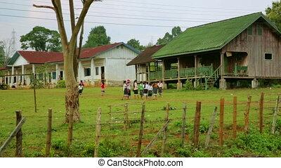 étudiants, école, jardin, laos