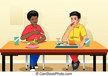 étudiants, école, manger petit déjeuner, illustration