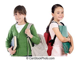 étudiants, école, retourner