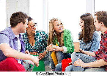 étudiants, école, rire, communiquer
