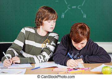 étudiants, écriture
