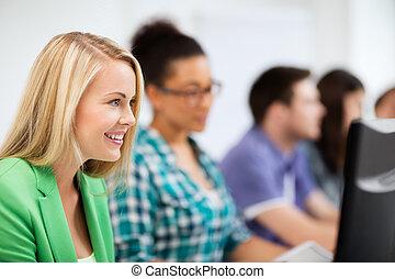 étudiants, étudier, école, ordinateurs