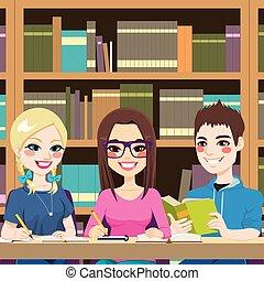 étudiants, étudier, bibliothèque