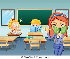 étudiants, étudier, intérieur, classe