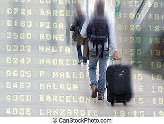 étudiants, aéroport