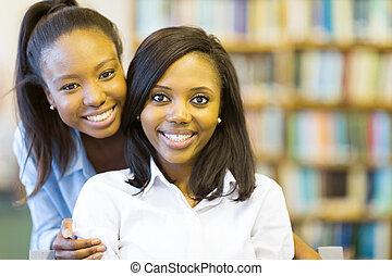 étudiants, américain afro, collège, jeune