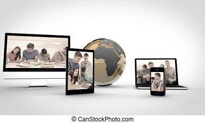 étudiants, appareils, vidéos