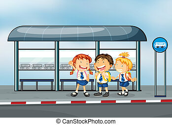étudiants, arrêt autobus
