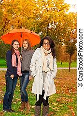 étudiants, automne, marche, parc