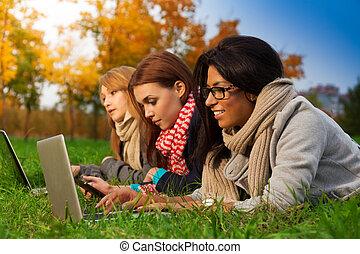 étudiants, automne, parc, trois