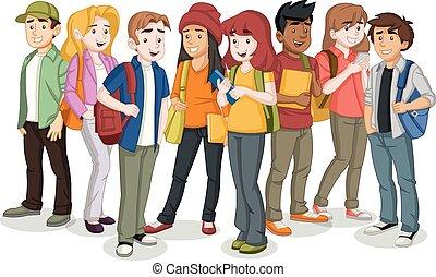 étudiants, backpack., livres, adolescent, dessin animé