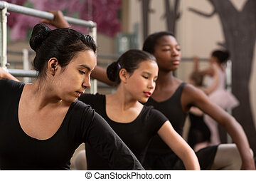 étudiants, ballet, réchauffer