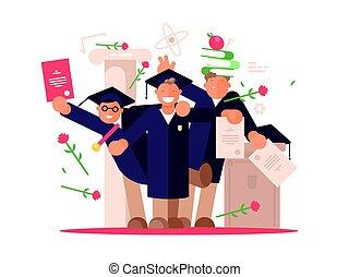 étudiants, cérémonie, remise de diplomes, heureux