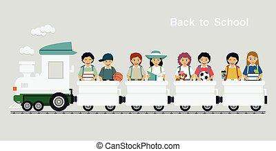 étudiants, cavalcade, train