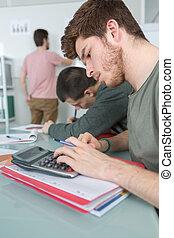 étudiants, classe, 3
