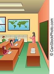 étudiants, classe, illustration