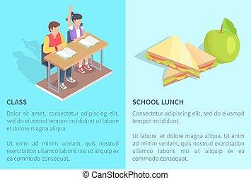 étudiants, classe, sandwich, pomme, deux