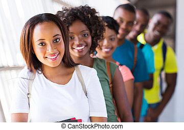étudiants,  collège, Américain, groupe,  Afro