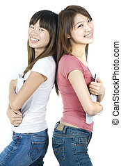 étudiants, collège, asiatique
