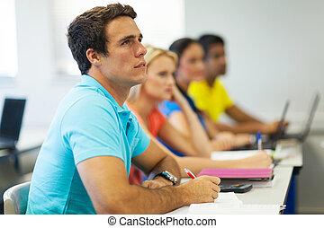 étudiants, collège, classe
