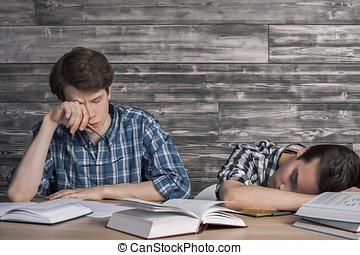 étudiants, collège, fatigué