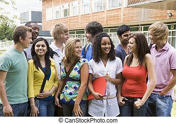 étudiants, collège, groupe, campus