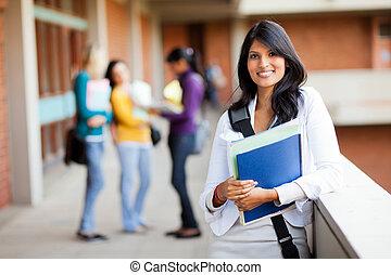 étudiants, collège, groupe, jeune, femme