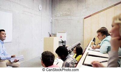 étudiants, conférence, groupe, salle, prof