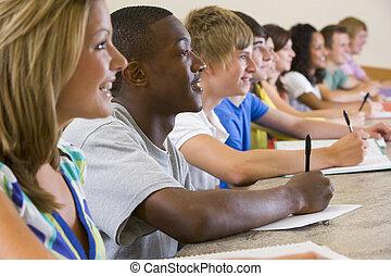 étudiants, conférence, université, collège, écoute