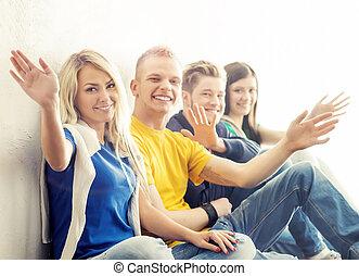 étudiants, coupure, hipster, groupe, heureux