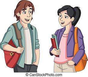 étudiants, dessin animé, adolescent