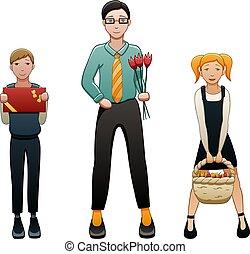 étudiants, deux, côtés, jeune, enseignant mâle