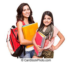 étudiants, deux, heureux