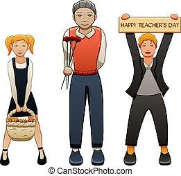 étudiants, deux, personnes agées, côtés, enseignant mâle