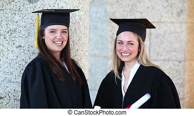 étudiants, diplômes, leur, tenue, heureux