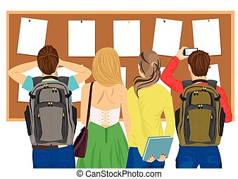étudiants, dos, regarder, collège, planche, bulletin, vue