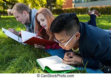 étudiants, examen, avant