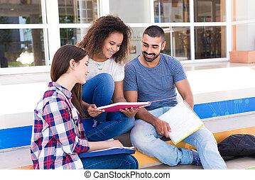 étudiants, groupe, campus