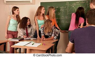 étudiants, groupe, classroom.