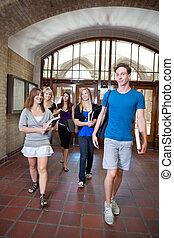 étudiants, groupe, collège