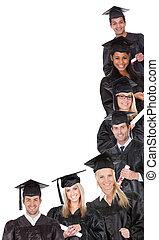 étudiants, groupe, diplômé