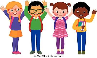 étudiants, groupe, enfants